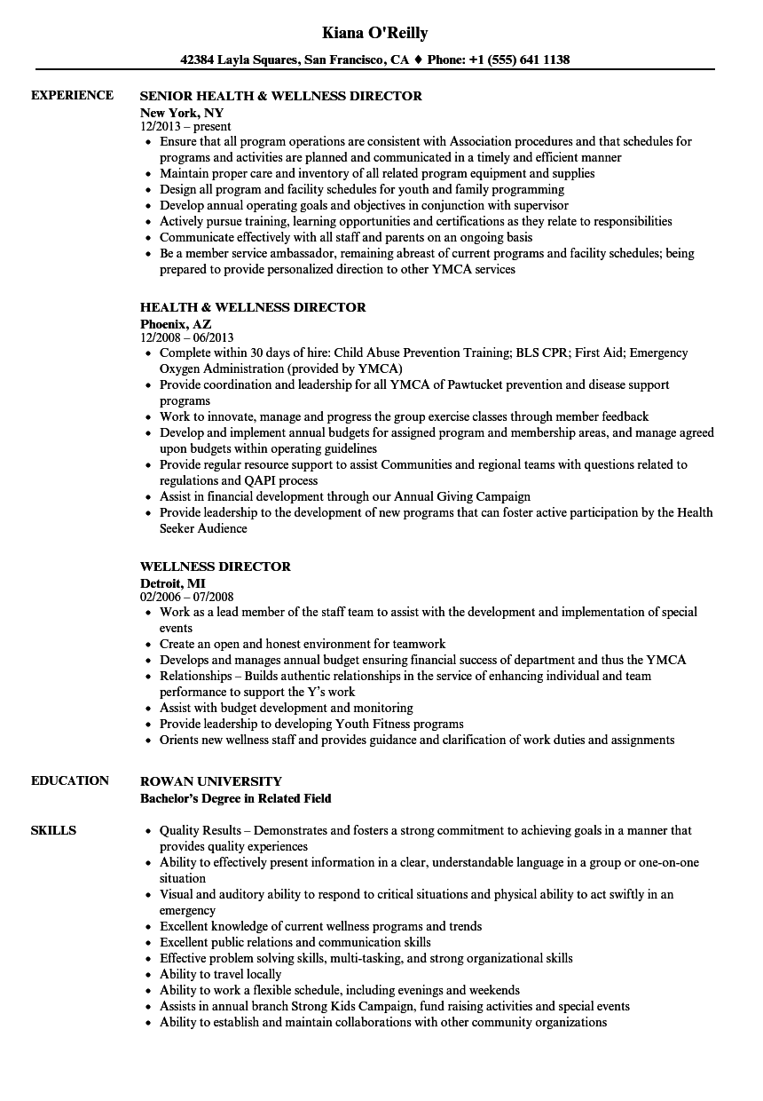 Download Wellness Director Resume Sample As Image File