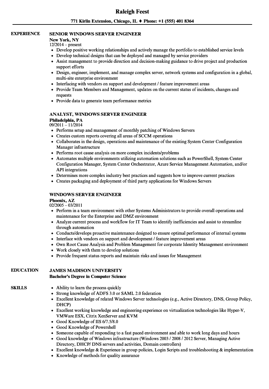 windows server engineer resume sample