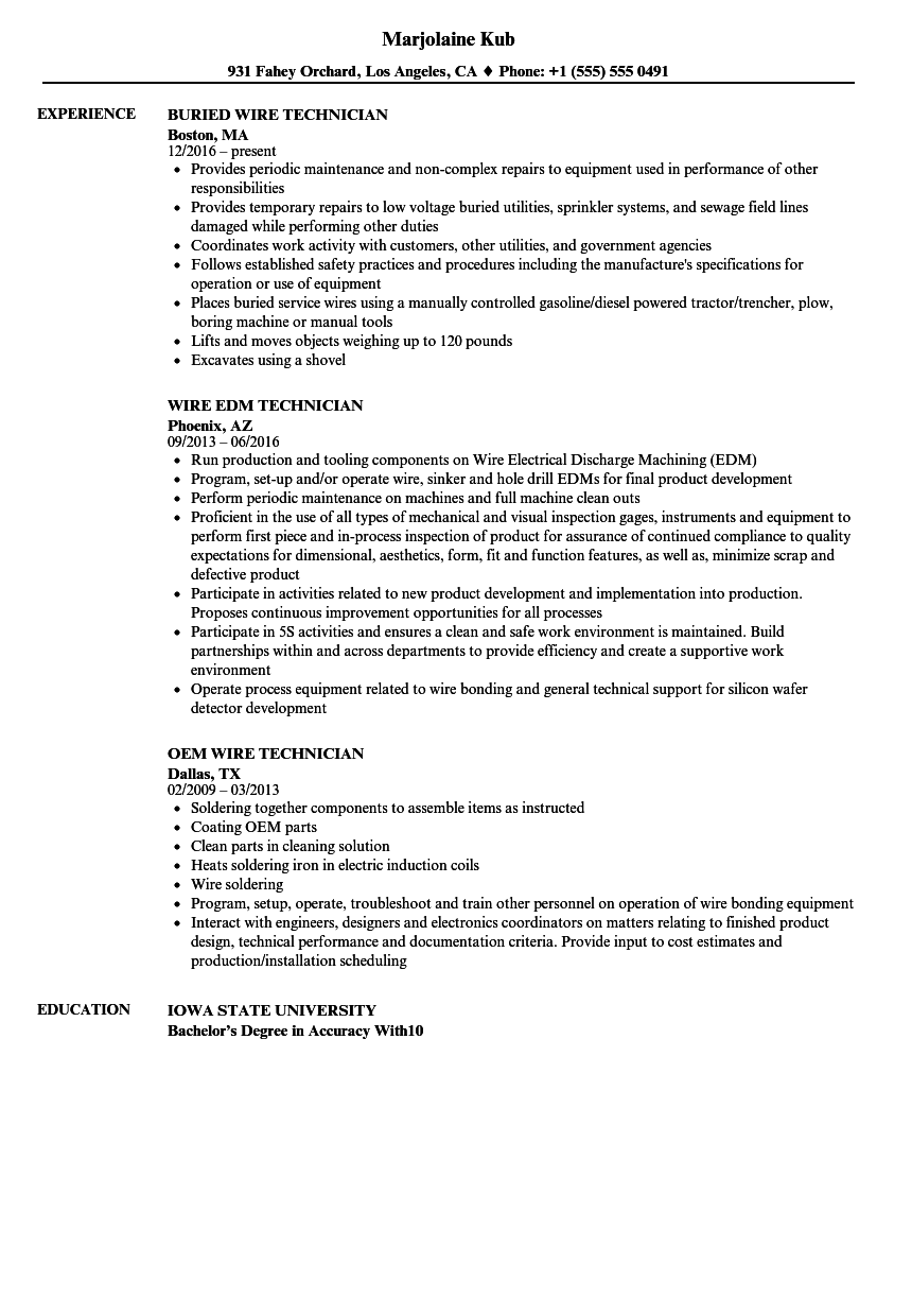 Wiring Technician Job Description - WIRE Center •