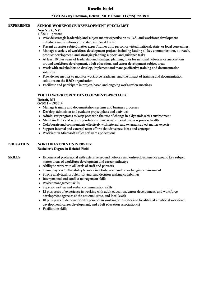 Workforce Development Specialist Resume Samples Velvet Jobs