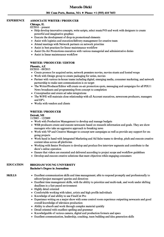 digital producer resume sample