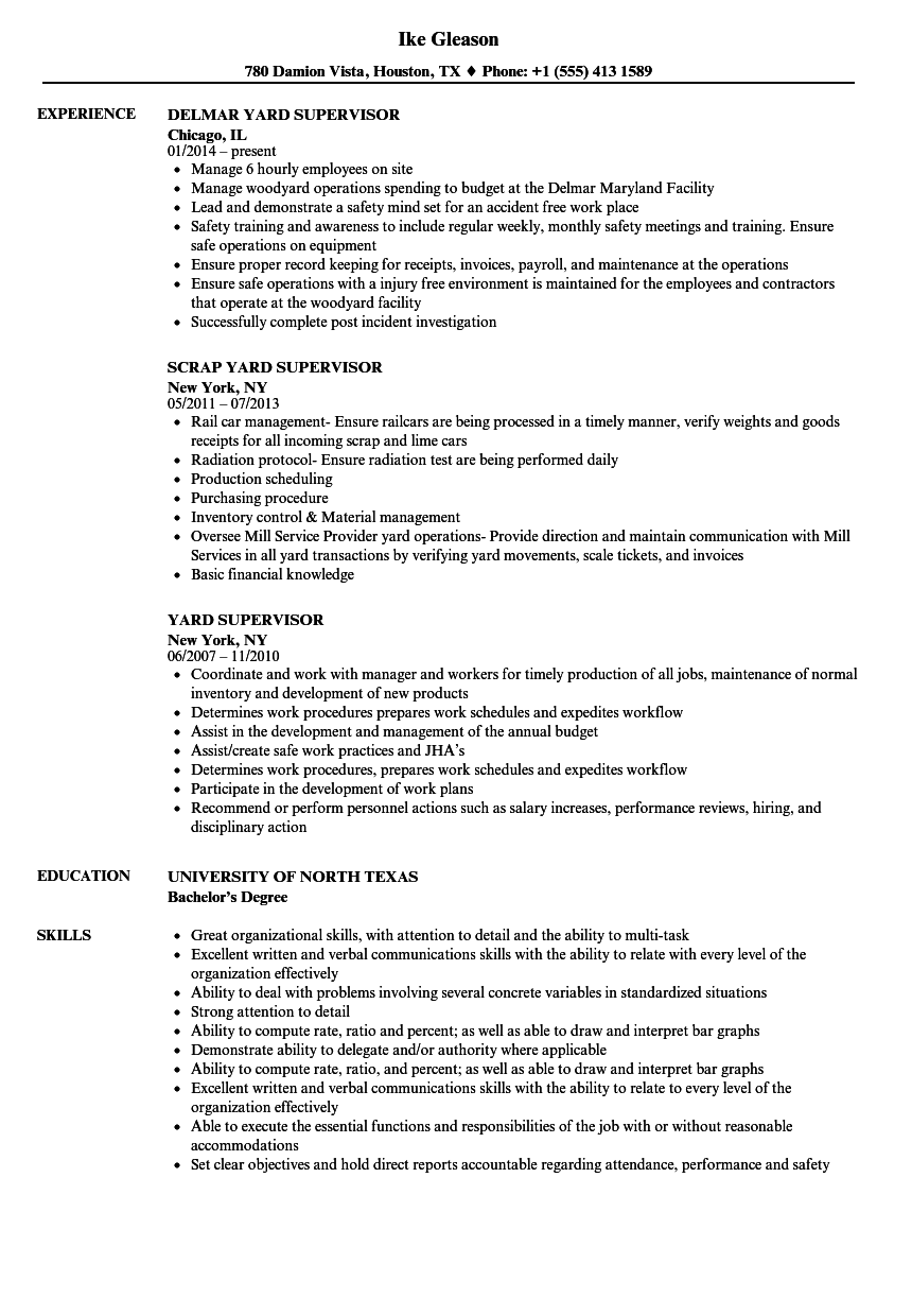 Yard Supervisor Resume Samples Velvet Jobs
