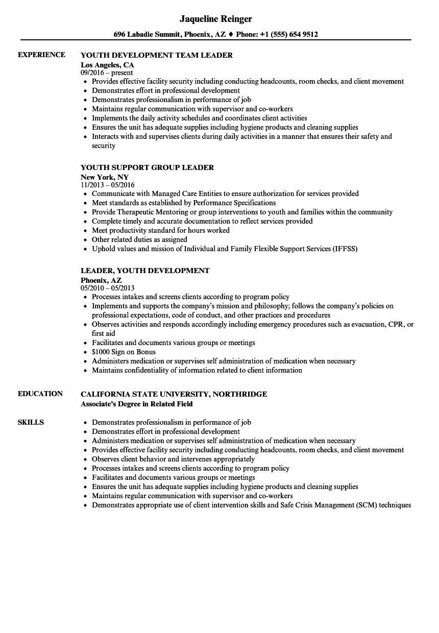 youth leader resume sample