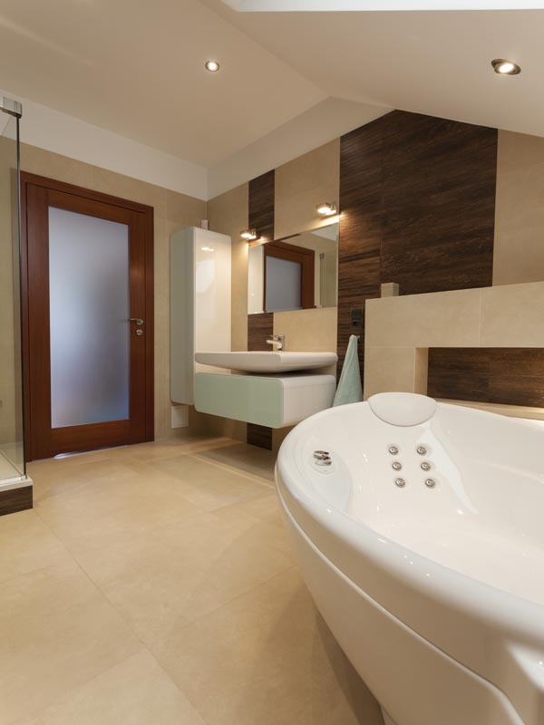 light cream tile for bathroom floor and wall, combined with wood look alike tiles on the walls
