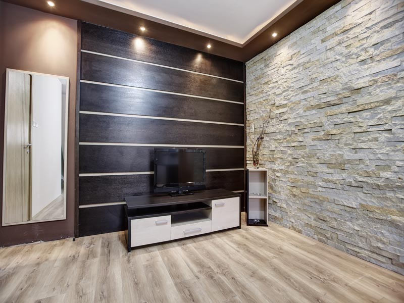 sandtone cladding as an indoor feature wall