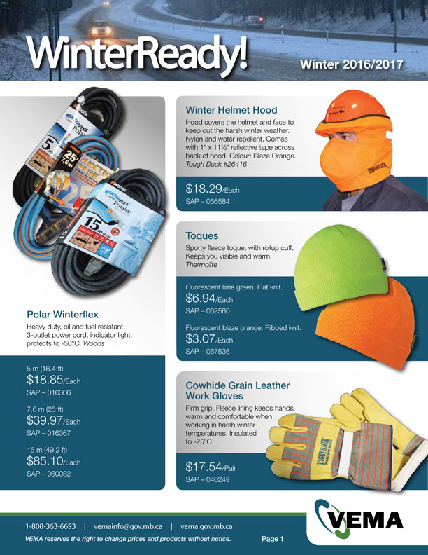 Image of cover for winter ready VEMA stores and parts flyer cover showing power cords, helmets and toques