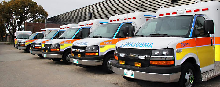 Image of line up of VEMA Ambulances