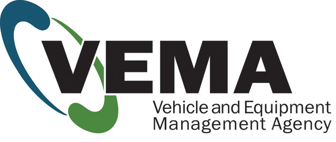 Graphic of VEMA logo with VEMA bold lettering and full wording for Vehicle and Equipment Management Agency