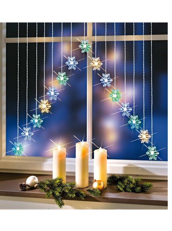 Cortina de luces LED con copos de nieve  Venca  007213