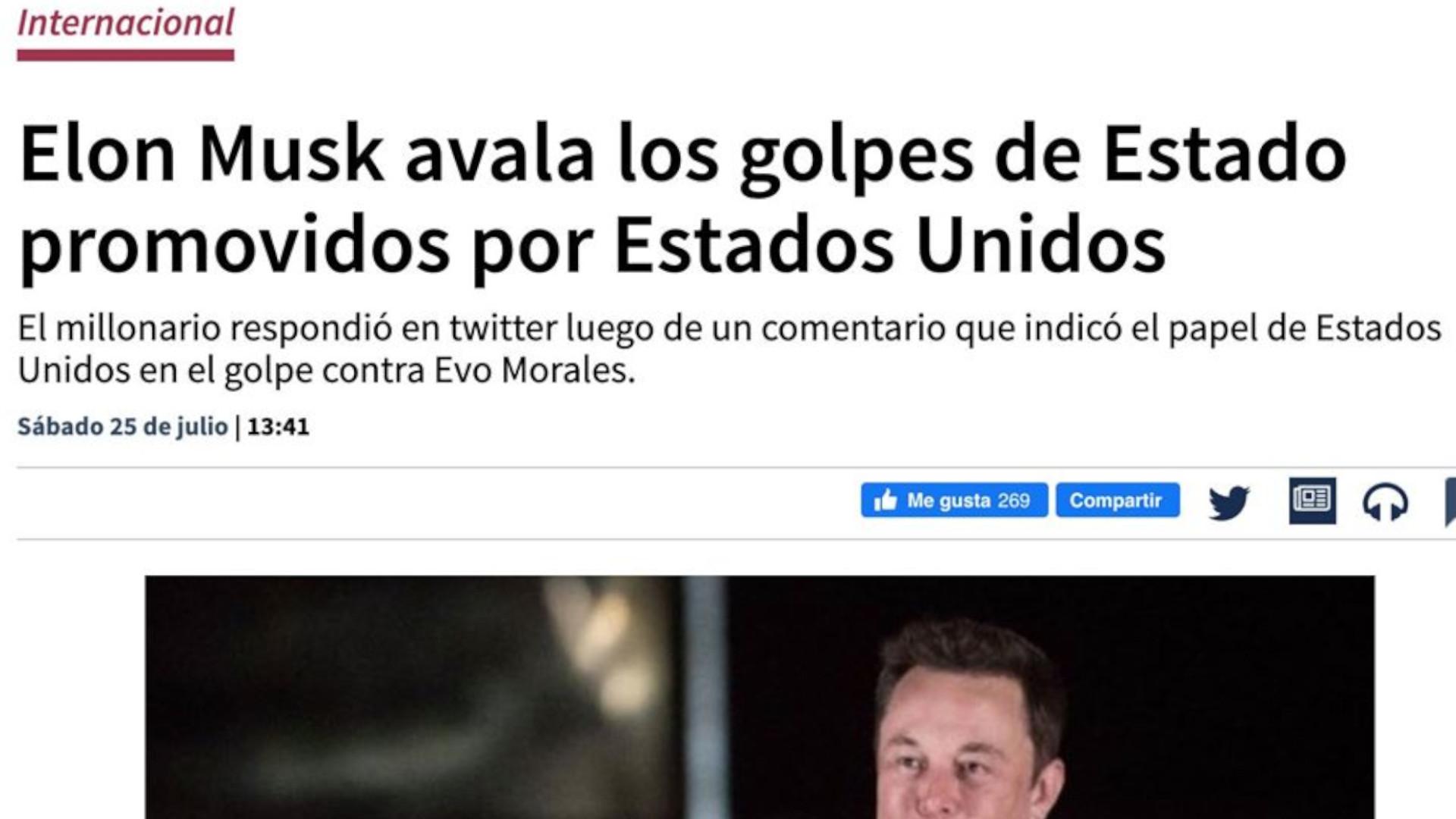 La confesión de Elon Musk sobre el golpe en Bolivia por el litio ya es noticia mundial
