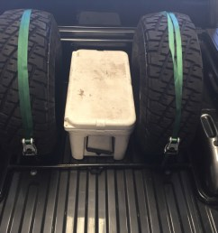 this is our bed rack for the 2015 ford f150 it can be configured many different ways to hold tires ice chests storage boxes jack  [ 1067 x 800 Pixel ]