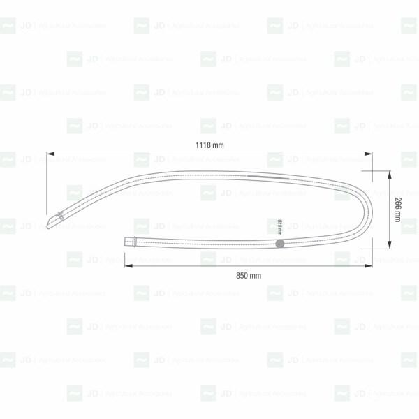 ALM-300. Bastón / Sacudidor redondo curvo adaptable a vendimiadoras Alma: SELECTA 3.4.5 2015, SELECTA 3.1.2.3 2015, SELECTA 3-13, SELECTA 3 IT 13, SELECTA 3 2014. Adaptable a: 560300