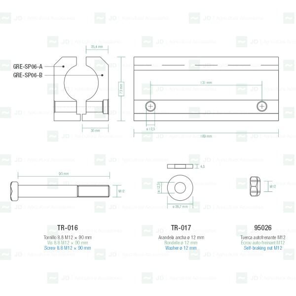 Soporte de aluminio completo para sacudidores Gregoire ø 28 mm