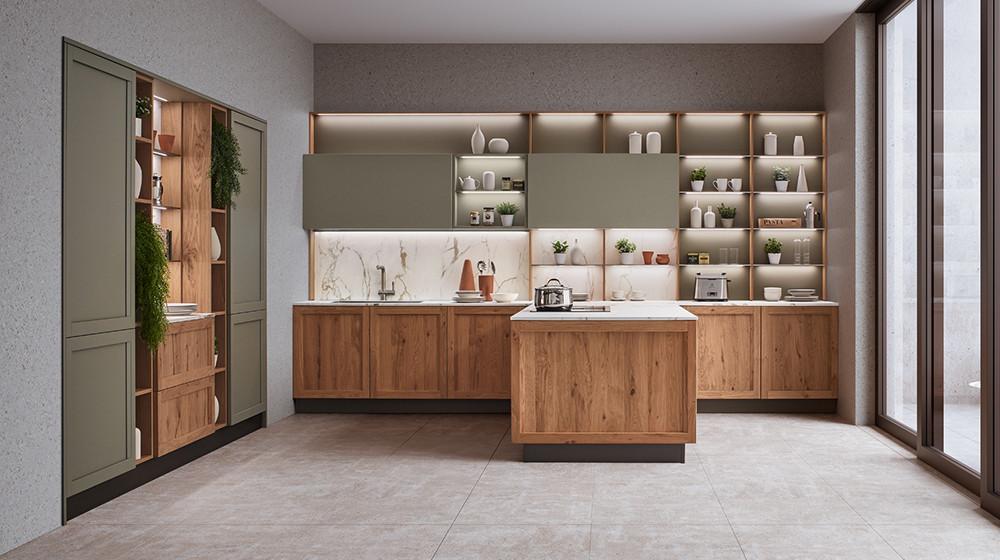 Cucina lineare shabby chic dai richiami country in legno. Kitchens Catalogue Veneta Cucine