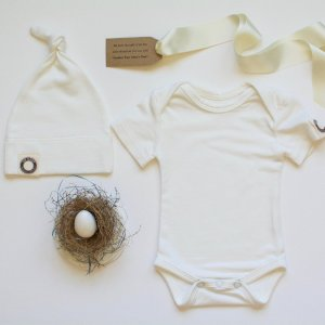 """Petite Nesting Bundle #1  Onesie, Knotted Hat and a Robins egg soap """"Unprinted"""""""