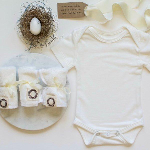 "Petite Nesting Bundle #2   Onesie, Three Washcloths and a Robins egg soap ""Unprinted"""