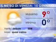 Meteo Venezia: previsioni martedì 15 gennaio 2019