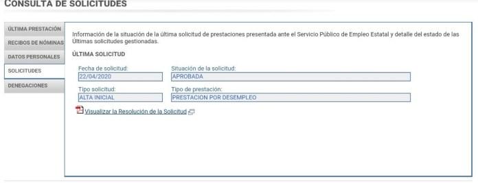 Consulta de solicitudes en el SEPE
