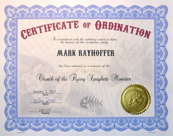 Church of the Flying Spaghetti Monster Certificates of