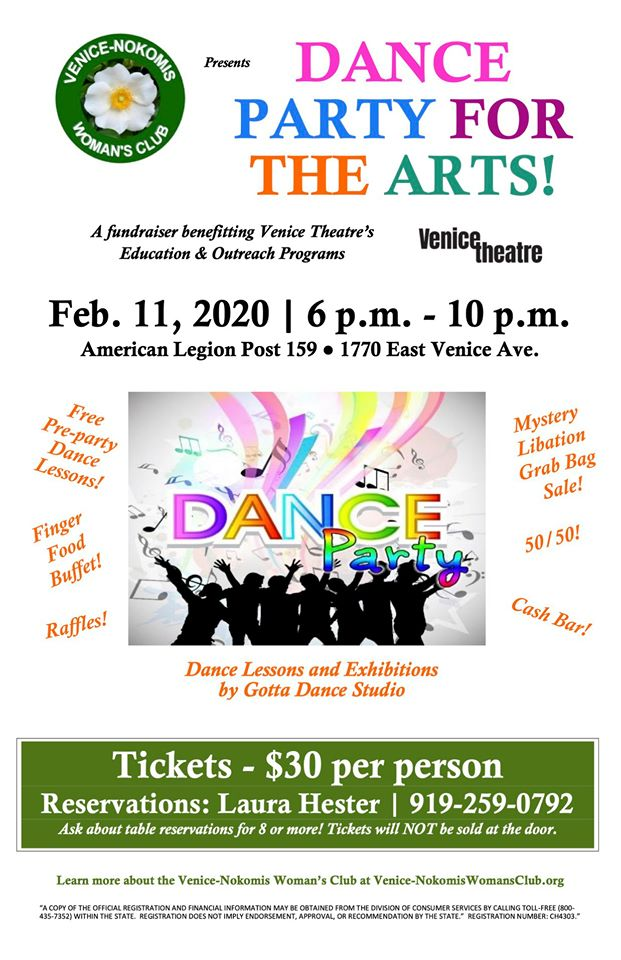 Dance Party for the Arts a fundraising event for Venice Theatre Feb. 11, 2020