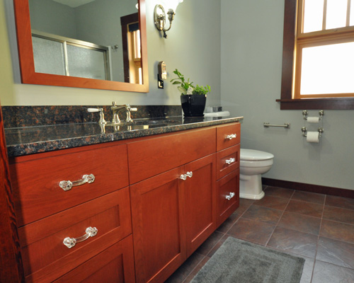 cherry wood kitchen cabinets stools craftsman addition seattle - ventana construction ...