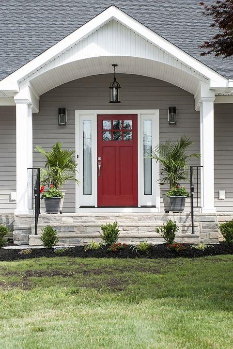 Puerta Roja, Pórtico, Exterior, Casa, Puerta, Diseño