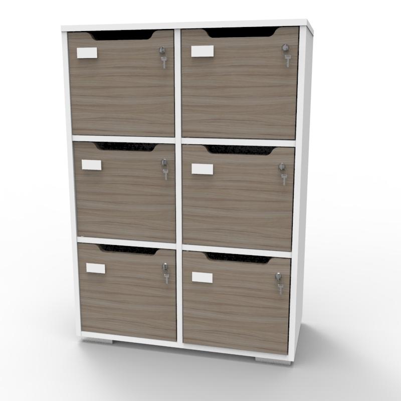 armoire casier caseo 6 cases gris pour