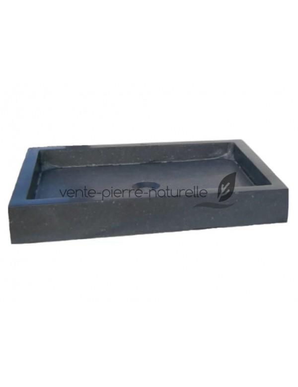 vasque en pierre basalte rectangulaire 70x40x12cm