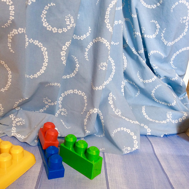 tissu coton impression bleu pastel et