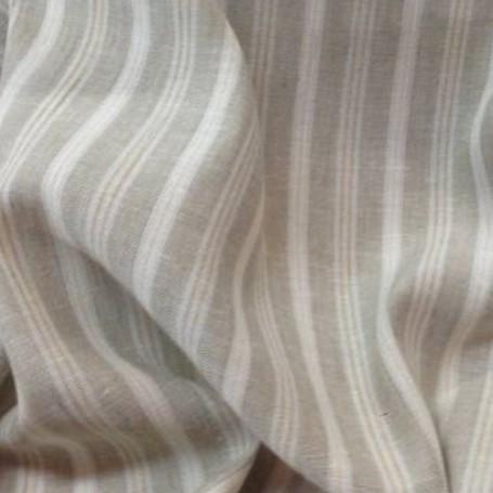 Tissu pour rideaux lin rayure beigeblanc tissu au metre direct fabricant