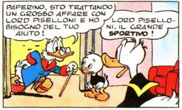Lord Piselloni, prima menzione