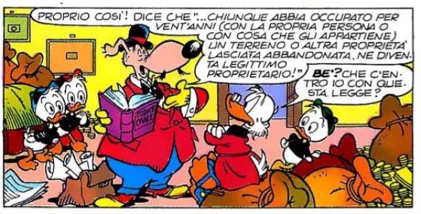 Paperon de Paperoni e l'avvocato Bido de Truffis parlano dell'usucapione.