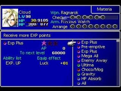 Final Fantasy VII menu