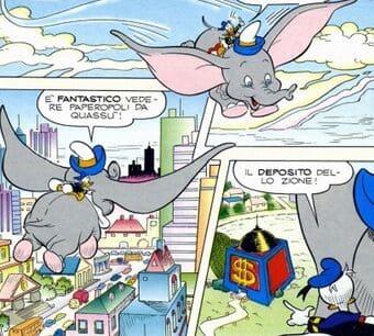 "Paperino cavalca Dumbo in ""Paperino in: la storia (in)finita"""