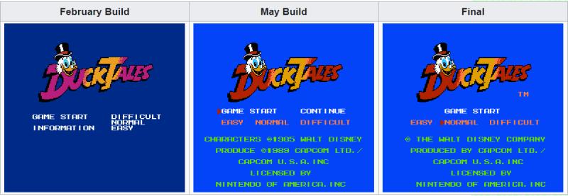Schermata Start di DuckTales per NES a confronto
