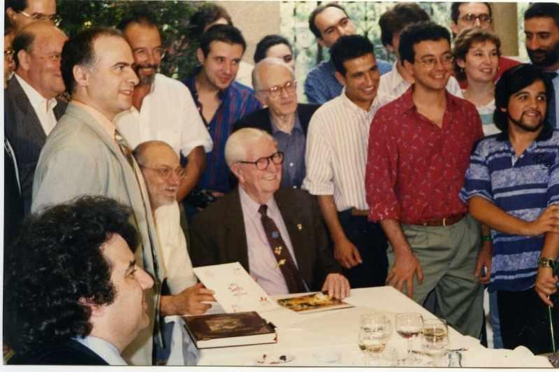 Silvio Camboni con Carl Barks e altri autori