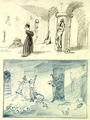 Bozzetti originali di Biancaneve e i sette nani.