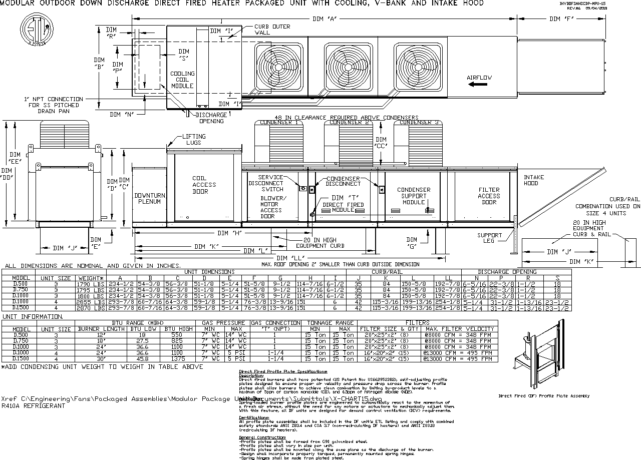 Modular Packaged Unit Submittal Drawing
