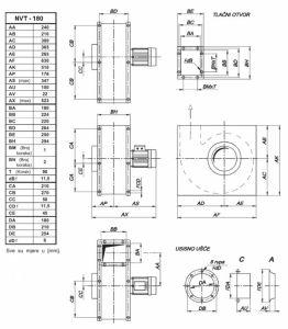 Mjerna skica srednjetlačnog centrifugalnog ventilatora NVT 180