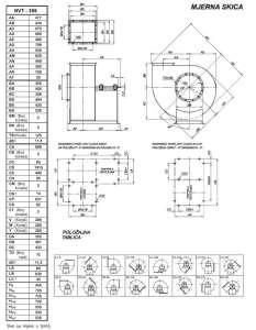 Mjerna skica NVT 355 srednjetlačnog centrifugalnog ventilatora s remenskim prijenosom