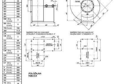 Mjerna skica NVT 630 srednjetlačnog centrifugalnog ventilatora s remenskim prijenosom