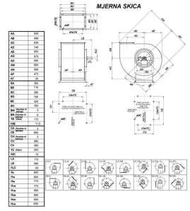 Mjerna skica srednjetlačnog centrifugalnog ventilatora SPV-400-021