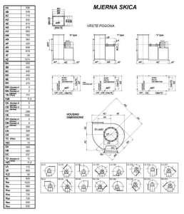 Mjerna skica srednjetlačnog centrifugalnog ventilatora SPV-450-011