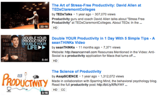 YouTube Productivity Videos