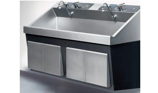 steris amsco flexmatic heavy duty double bay scrub sink refurbished