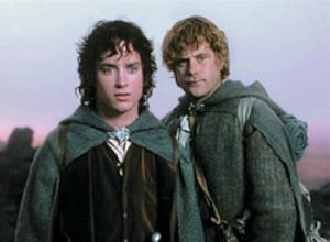 Sam and Frodo trying to meaningfully use the ring