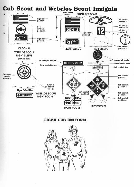 cub scout insignia proper placement