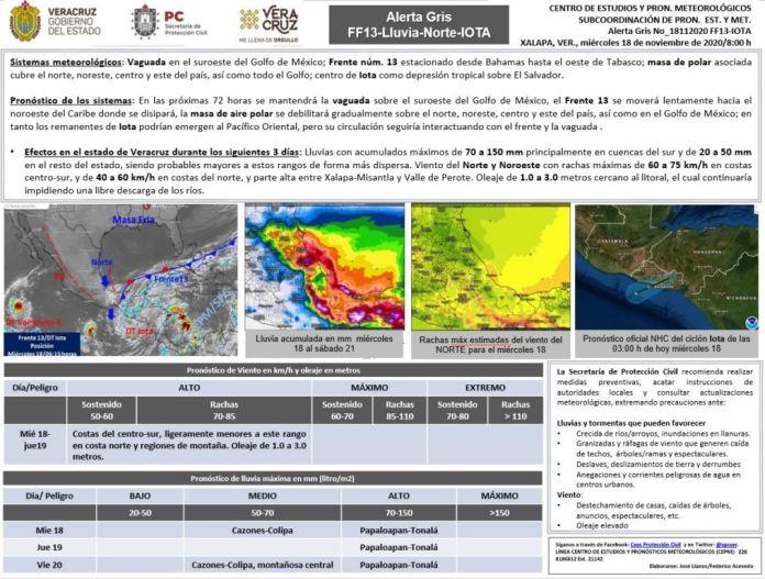 Frente Frío Trece provoca deslaves e inundaciones en Veracruz