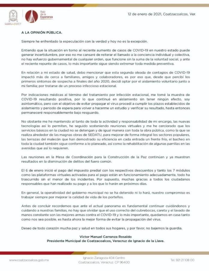 Confirma alcalde de Coatzacoalcos contagio por Covid-19