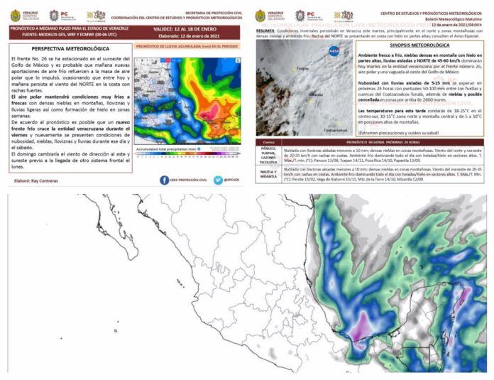Condiciones invernales en Veracruz.